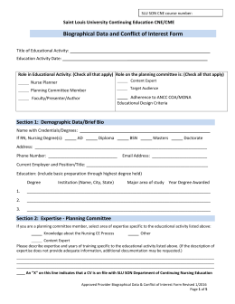 Interest form for Conflict of interest declaration template