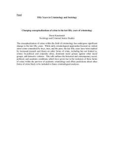 Kauzlarich, David, et al, - PANEL Fifty Years in Criminology and Sociology Changing conceptualizations of crime in the last fifty years of criminology
