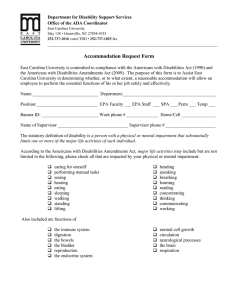 ADA Request for Reasonable Accommodation Form