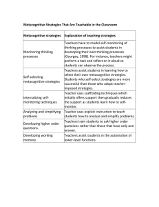 Metacognitive Strategies for the Classroom