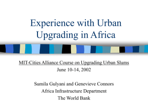 Experience with Urban Upgrading in Africa