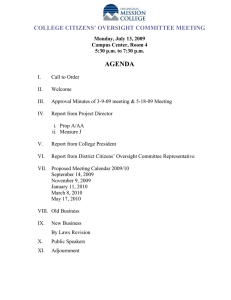 AGENDA COLLEGE CITIZENS' OVERSIGHT COMMITTEE MEETING