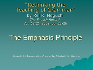 Teaching Writing with the Emphasis Principle