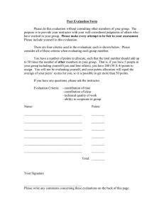 Project Peer Evaluation Form (required)
