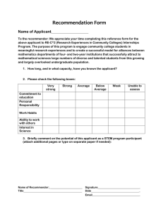 Recommendation Form  Name of Applicant