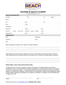 TEACHERS OF QUALITY ACADEMY Faculty Application Form APPLICANT INFORMATION