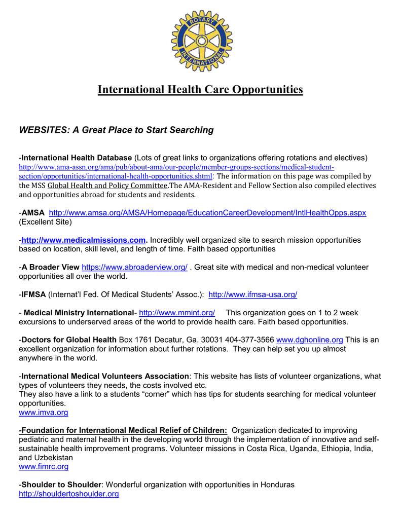 International Health Care Opportunities