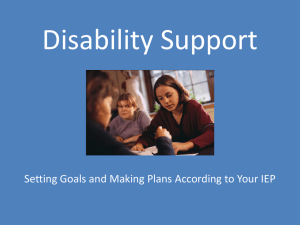 Disability Support Setting Goals and Making Plans According to Your IEP