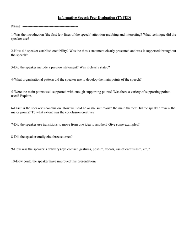 informative speech evaluation essay