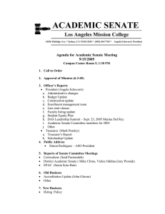 Agenda for Academic Senate Meeting 9/15/2005