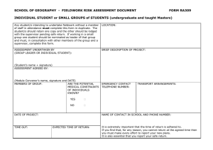 Fieldwork Risk Assessment Form for Undergraduates and Taught Masters Students