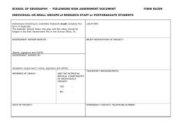 Fieldcourse Risk Assessment Form