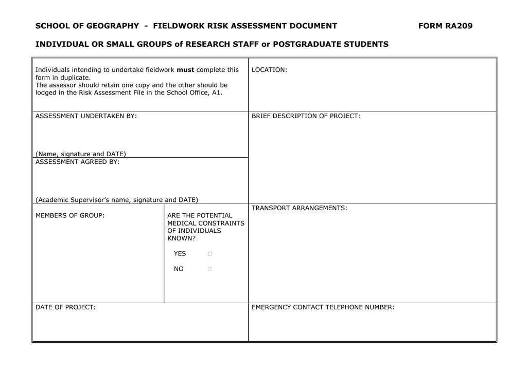 Fieldwork risk assessment form for research students and staff maxwellsz