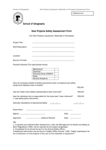 New Projects Safety Assessment Form