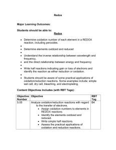 Redox  Major Learning Outcomes: Students should be able to: