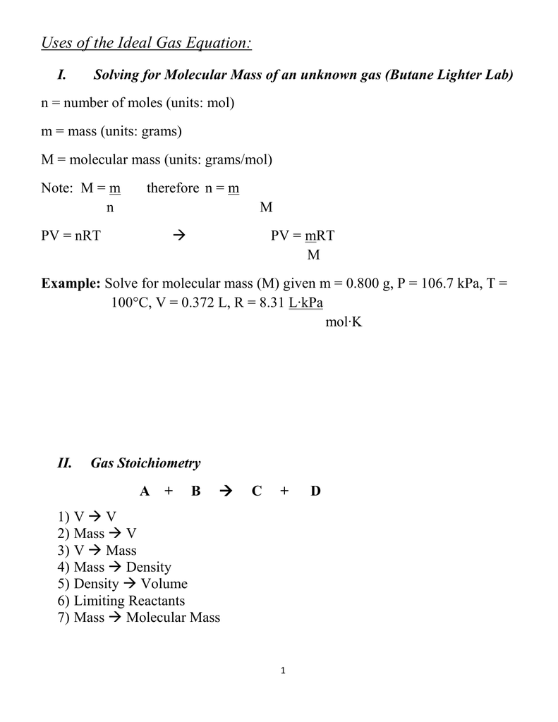 Uses Of The Ideal Gas Law And Stoichiometry With Gases