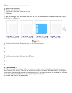 Handout for Metals in Aqueous solutions