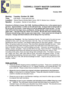 TAZEWELL COUNTY MASTER GARDENER NEWSLETTER Meeting: Tuesday, October 28, 2008