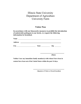 Illinois State University Department of Agriculture University Farm Visitor Pass