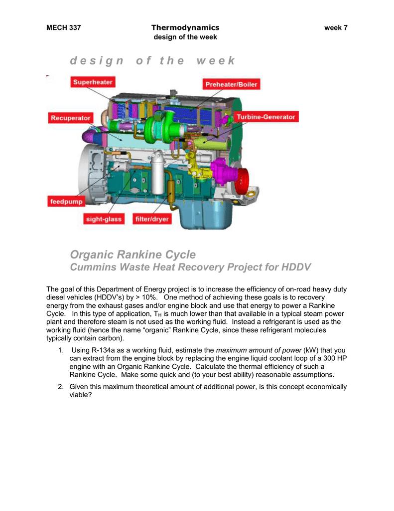 d e s i g n o Organic Rankine Cycle Cummins Waste Heat