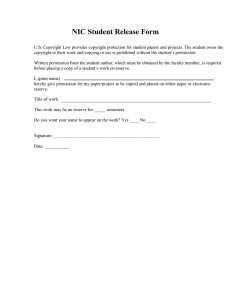 NIC Student Release Form