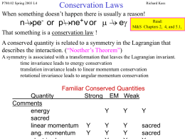 Lecture 4, Conservation Laws (ppt)