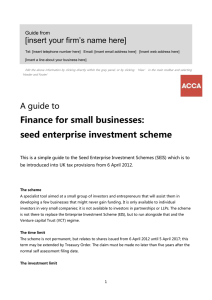 Guide to... Finance for small businesses (SEIS)