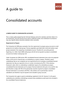 ACCA Guide to.... consolidated accounts for businesses
