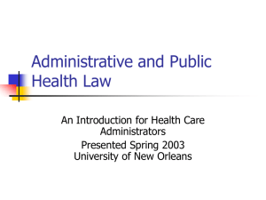 Public Health Law - An Introduction for Health Care Administrators