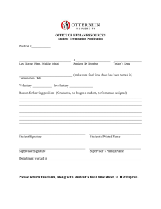 OFFICE OF HUMAN RESOURCES Student Termination Notification  Position #____________