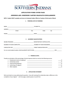 APPLICATION FORM COVER PAGE JENNINGS AND JOSEPHINE CARTER GRADUATE SCHOLARSHIPS