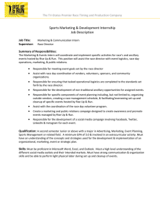 Sports Marketing & Development Internship Job Description