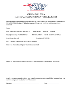 APPLICATION FORM MATHEMATICS DEPARTMENT SCHOLARSHIPS
