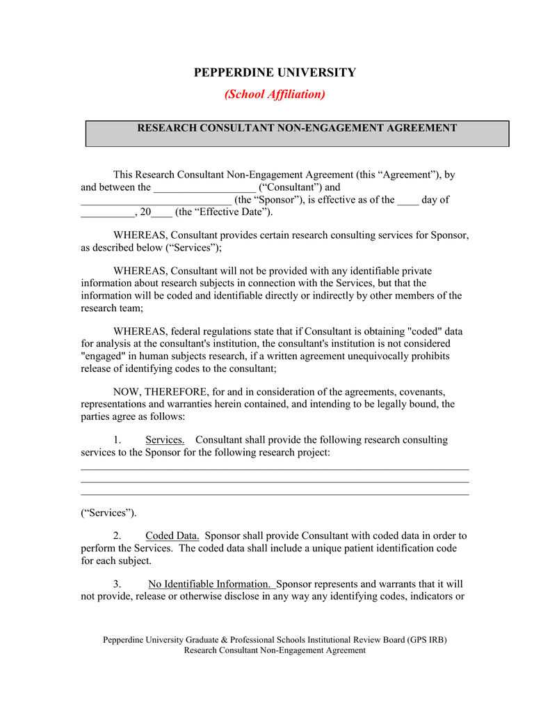 Researcher Consultant Non Engagement Agreement