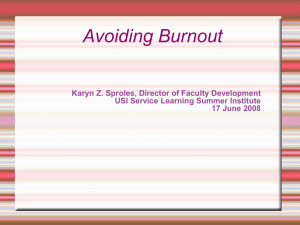 Avoiding Burnout Karyn Z. Sproles, Director of Faculty Development 17 June 2008