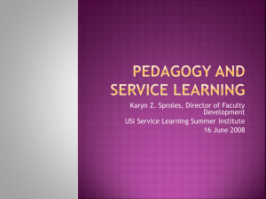 Pedagogy and Service Learning