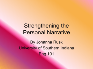 Strengthening the Personal Narrative (PowerPoint)