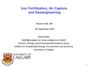 Iron Fertilization, Air Capture, and Geoengineering