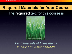 Required Materials for Your Course The text for this course is required