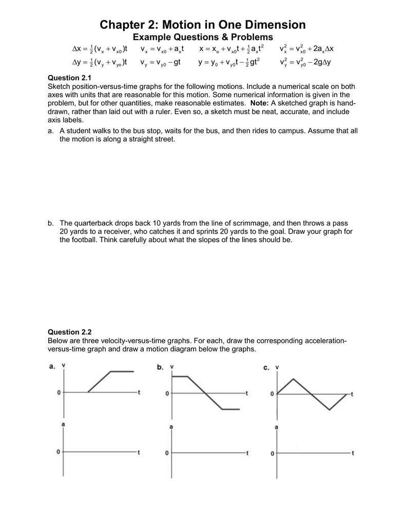 Chapter 2 motion in one dimension example questions problems x ccuart Images