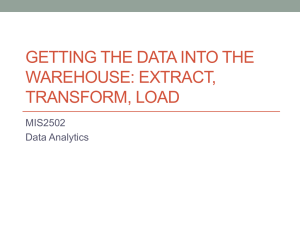 GETTING THE DATA INTO THE WAREHOUSE: EXTRACT, TRANSFORM, LOAD MIS2502