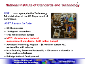 National Institute of Standards and Technology NIST Assets Include: