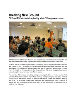 Talk by Mr David Tan on Breaking New Ground With JTC