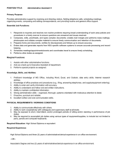 POSITION TITLE: Administrative Assistant II  Primary Purpose:
