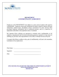 DEPARTMENT CONFIDENTIALITY AGREEMENT