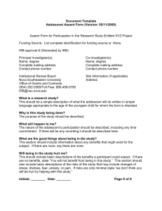 Document Template for Adolescent Assent Form