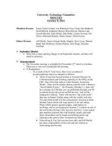 University Technology Committee MINUTES October 8, 2012
