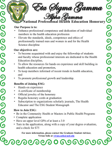 Eta Sigma Gamma Alpha Gamma National Professional Health Education Honorary