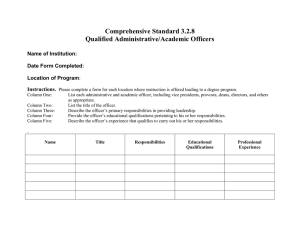 Comprehensive Standard 3.2.8 Qualified Administrative/Academic Officers  Name of Institution: