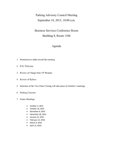 Parking Advisory Council Meeting September 18, 2015, 10:00 a.m.